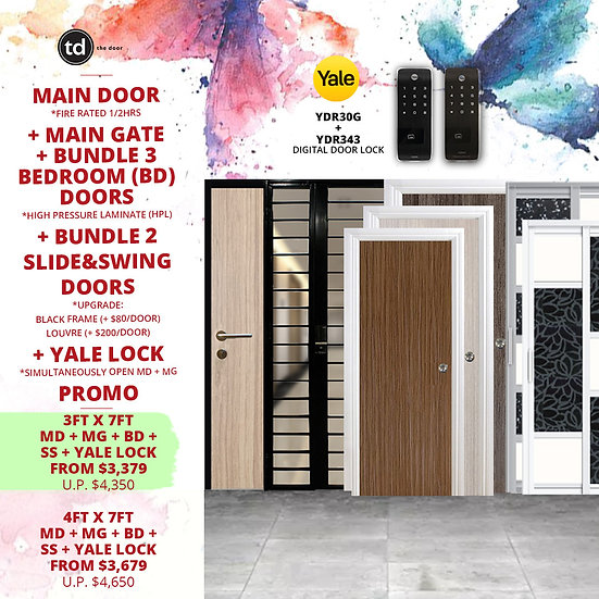 Laminate Fire Rated Main Door+ Main Gate+ 3 Bed / 2 Slide+ Yale YDR30G/YDR343