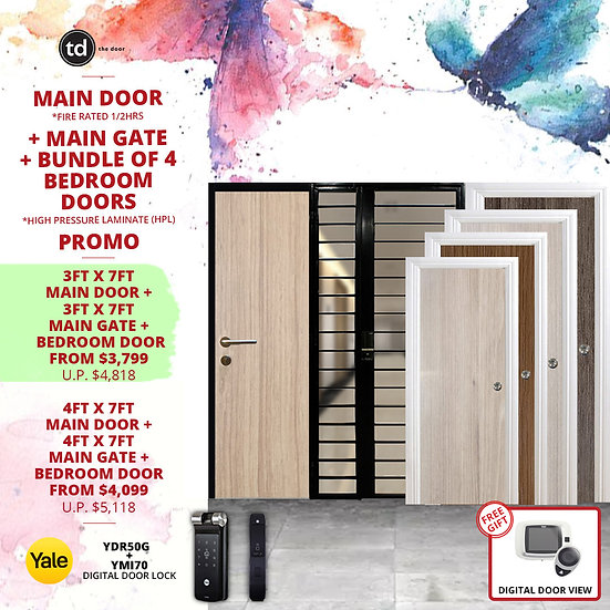 Laminate Fire Rated Main Door/ Main Gate+ 4 Bedroom Doors+ Yale YDR50G/YMI70