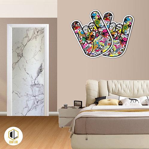 Solid Laminate Bedroom Door - Snow Matt Marble