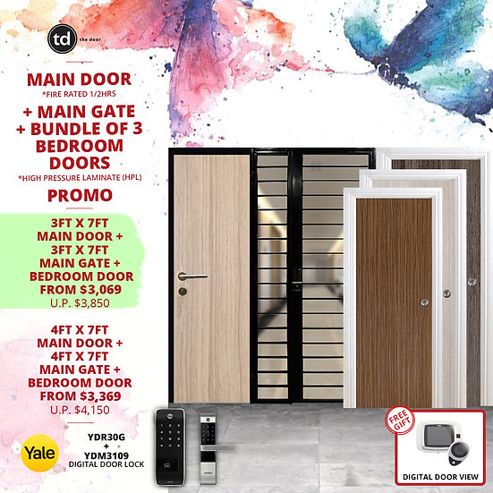 Laminate Fire Rated Main Door/ Main Gate + 3 Bedroom Doors + Yale YDR30G/YDM3109