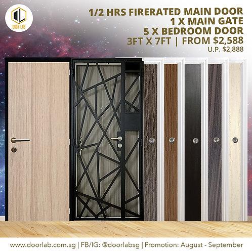 Laminate Fire Rated Main Door +Main Gate +05 x Laminate Bedroom Doors