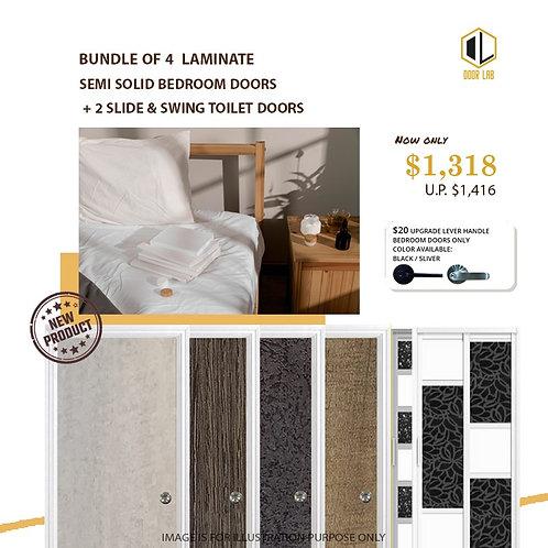 Package of 4- Melamine Semi Hollow Bedroom Doors + Package of 2 Slide & Swing