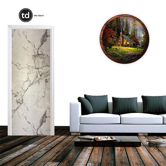 Laminate Solid Bedroom Door- TD1911 White Gloss Marble
