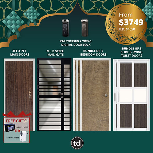 Laminate Fire Rated Main Door+ Main Gate+ 3 Bed / 2 Slide+ Yale YDR50G/YDF40