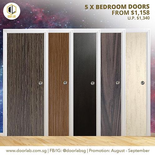 Package of 5- Laminate Solid Bedroom Doors