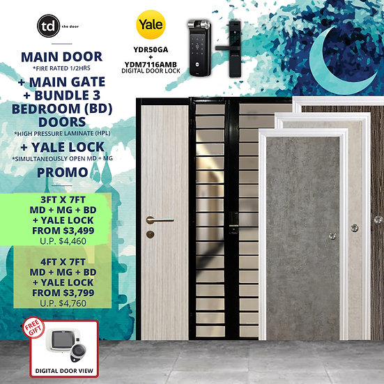 Laminate Fire Rated Main Door/ Main Gate+ 3 Bedroom Door+ Yale YDR50GA/ YDM7116A