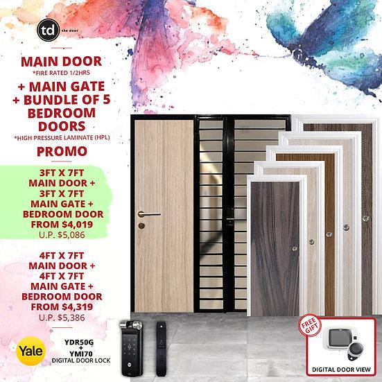 Laminate Fire Rated Main Door/ Main Gate+ 5 Bedroom Doors+ Yale YDR50G/YMI70
