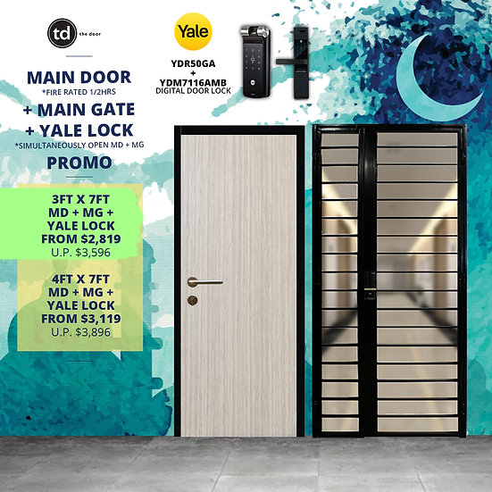 Laminate Fire Rated Main Door + Main Gate + Yale YDR50GA/ Yale YDM7116A MB