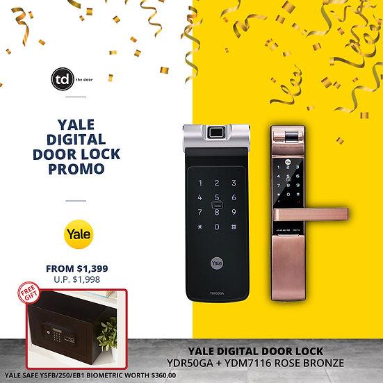 Yale YDR50GA + YDM7116 Rose Bronze Digital Door Lock Bundle Deal