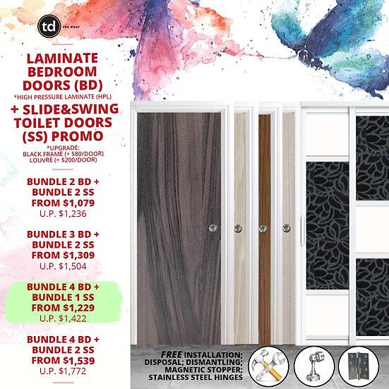Bundle of 4 Laminate Bedroom Doors + Slide & Swing Toilet Doors