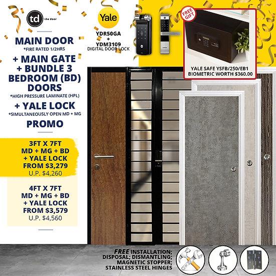 Laminate Fire Rated Main Door/ Main Gate+ 3 Bedroom Doors+ Yale YDR50GA/YDM3109