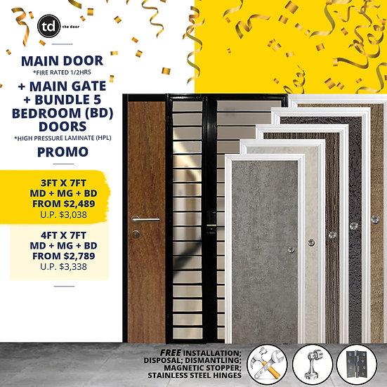 Laminate Fire Rated Main Door + Main Gate + Bundle of 5 Bedroom Doors