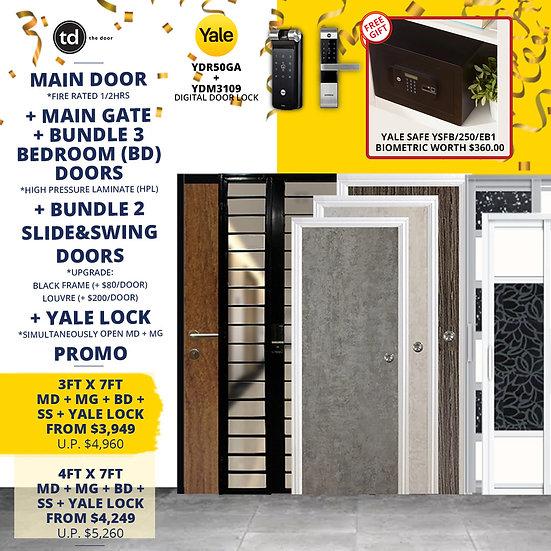 Laminate Fire Rated Main Door+ Main Gate+ 3 Bed / 2 Slide+ Yale YDR50GA/YDM3109