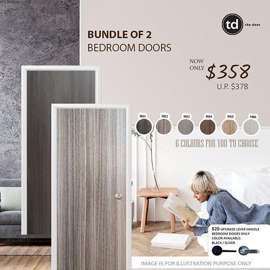 Bundle of 2 Melamine Semi Hollow Bedroom Doors