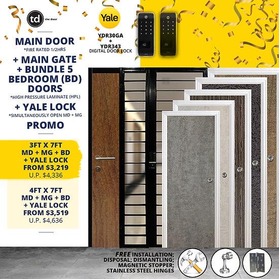 Laminate Fire Rated Main Door/ Main Gate +  5 Bedroom Door + Yale YDR30GA/YDR343