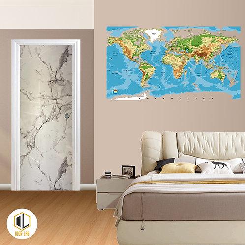 Solid Laminate Bedroom Door - Snow Gloss Marble