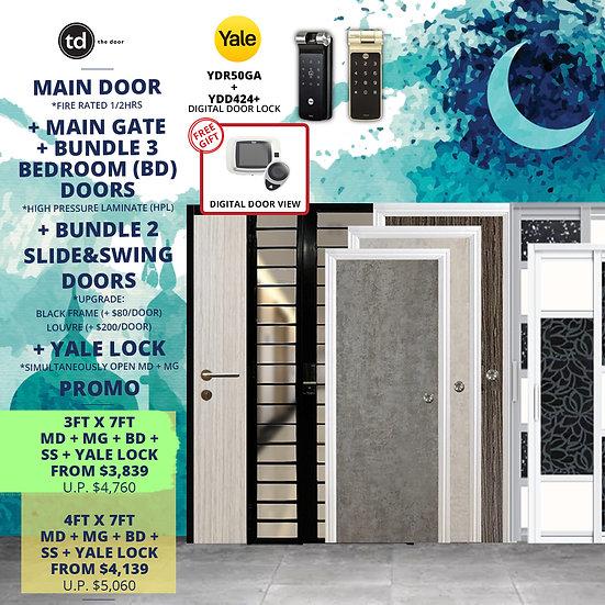 Laminate Fire Rated Main Door+ Main Gate+ 3 Bed / 2 Slide+ Yale YDR50GA/YDD424+