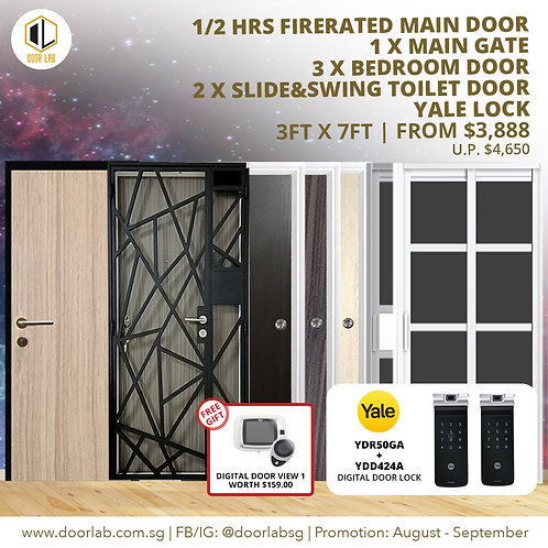 Laminate Fire Rated Main Door +Main Gate +03 Bed + 2 x S&S+ Yale YDR50GA/424+