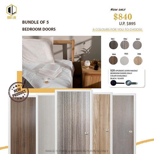 Package of 5- Melamine Semi Hollow Bedroom Doors