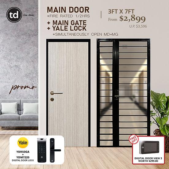 Laminate Fire Rated Main Door + Main Gate + Yale YDR50GA/ Yale YDM7220 MB