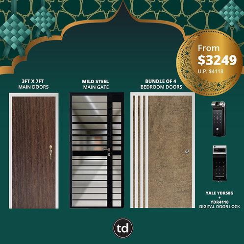 Laminate Fire Rated Main Door/ Main Gate +  4 Bedroom Doors + Yale YDR50/YDR4110