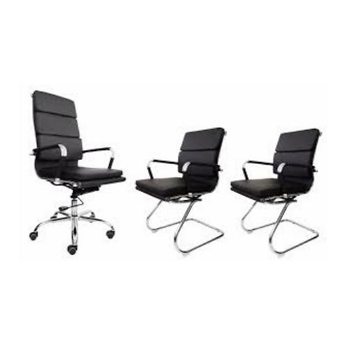 Kit cadeiras de escritório base cromada