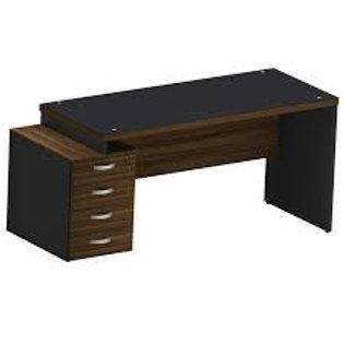 Mesa escritório tampo 40mm reta pedestal 4 gavetas