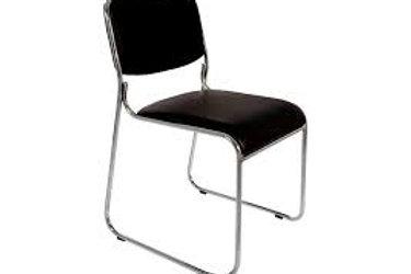 Cadeira fixa Empilhável sem braços estrutura cromada escritório