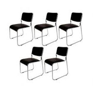 Kit Cadeira fixa com braços estrutura cromada escritório