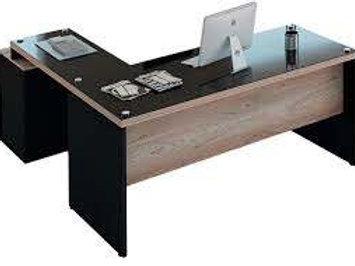 Mesa escritório tampo 40mm em L com gaveteiro