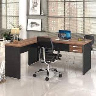 Mesa escritório tampo 30mm em L