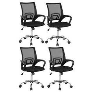 Cadeira Escritório Office Giratória - Kit com 4 peças