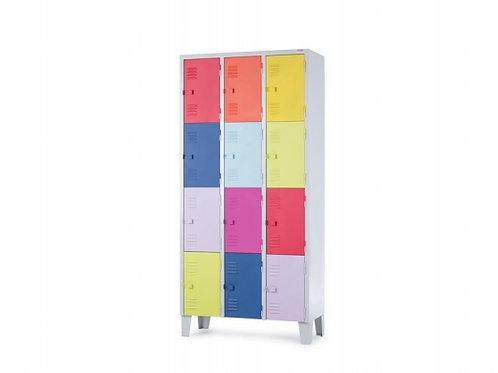 Armário de Aço vestiário Roupeiro Loker 12 portas coloridas