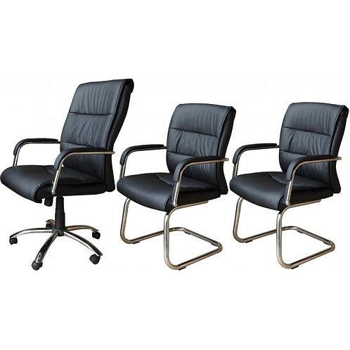 Cadeira escritório giratória Presidente Kit 3 pçs