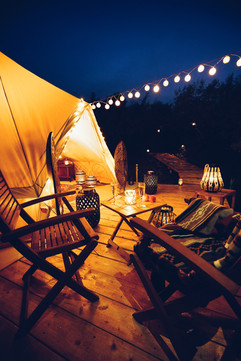 Decking and bell tents