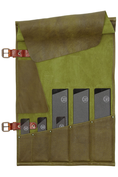 chefs knife roll forest green 6 knife protectors