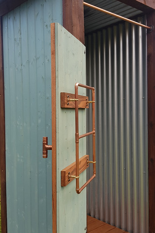 Towel Rail in Copper and wood