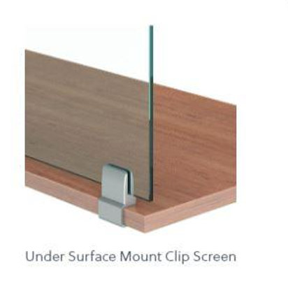 """Lexan 1/4"""" Worksurface Mount Clip Screens without Cut-Outs"""
