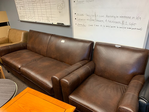 Dark Brown Leather Love Seat and Chair Combo