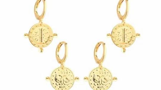 Argola Dupla Moeda 1850 Folheada Ouro Com Cristal -
