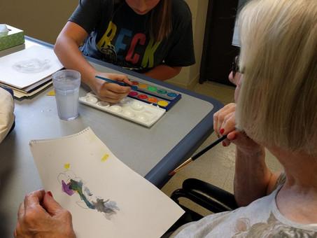 Grandma and Leah Art Time