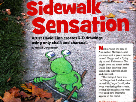 Highlights article on street artist David Zinn leads to Author of the Month Award