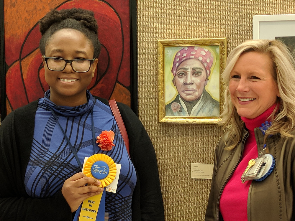 Painting Winner: Harriet  by Merideth Sauvé, Nursing Clerical Services, with Shon Dwyer, BSN, RN, MBA, Executive Director, University Hospital & Frankel Cardiovascular Center