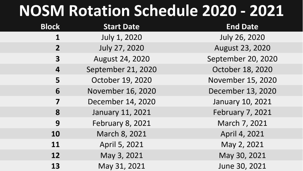 NOSM rotation schedule 2020-2021