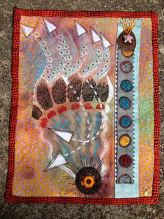 Small Art Quilt-Beads, stitching and found objects
