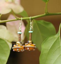 Lampworked glass bead earrings