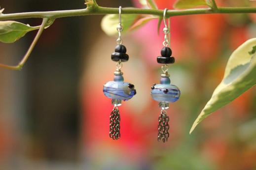 lampworked glass bead earring