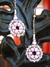 Stitched Bead earrings on sterling chain
