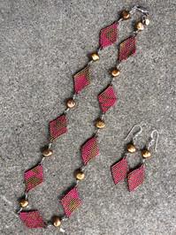 Brick & Peyote Stitch Diamonds with Silver Wire -wrapped Pearls
