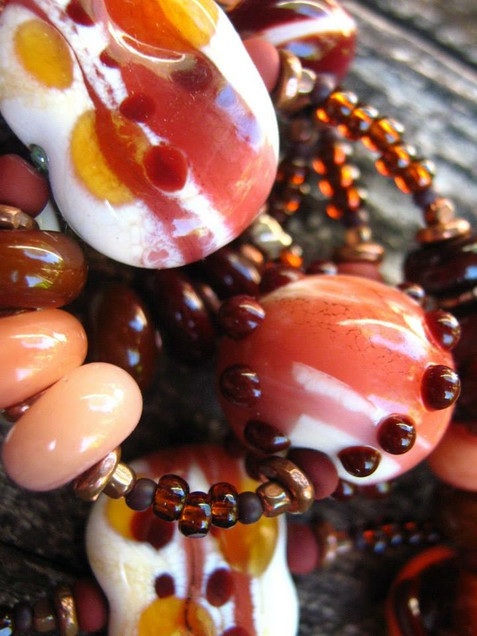 Detail of Lampworked Glss bead necklace